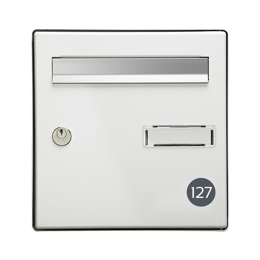 Numéro pour boite aux lettres personnalisable format rond diamètre 40 mm couleur gris chiffres blancs