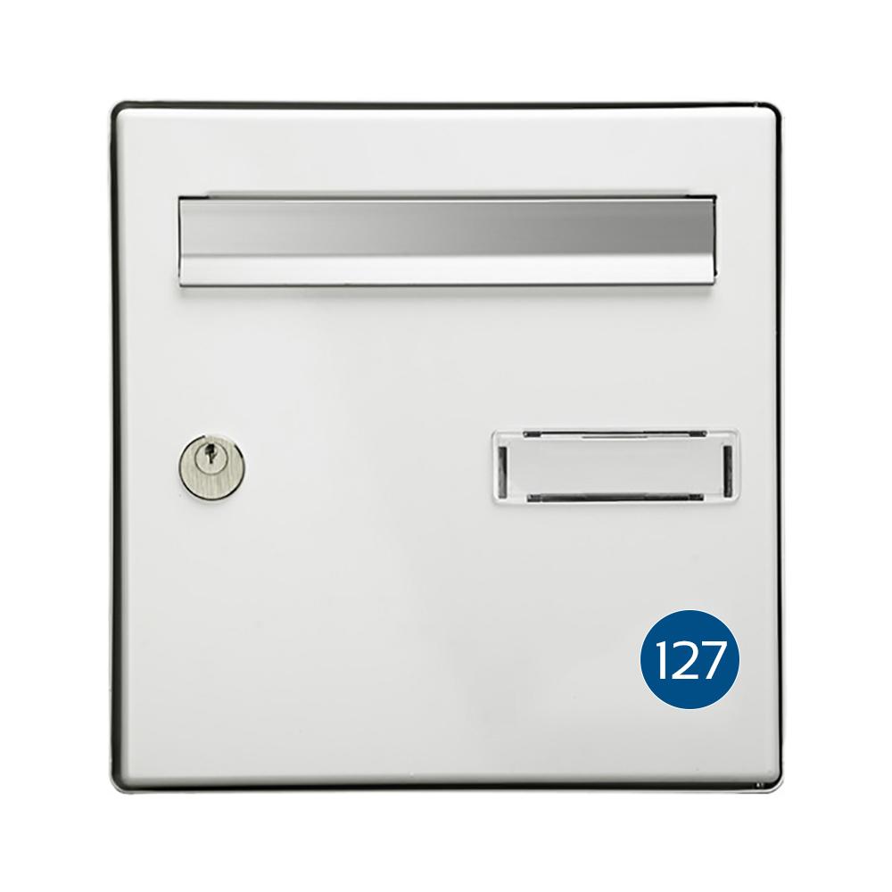 Numéro pour boite aux lettres personnalisable format rond diamètre 40 mm couleur bleu chiffres blancs