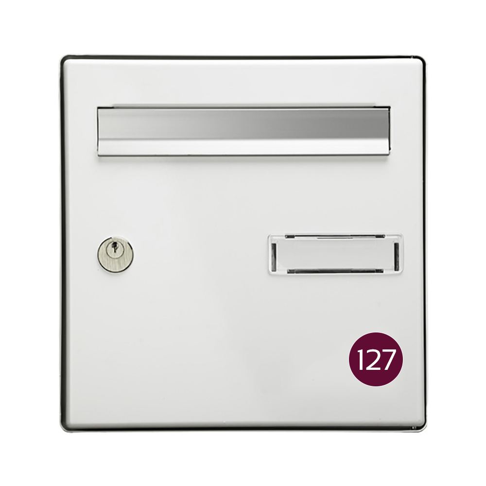 Numéro pour boite aux lettres personnalisable format rond diamètre 40 mm couleur bordeaux chiffres blancs