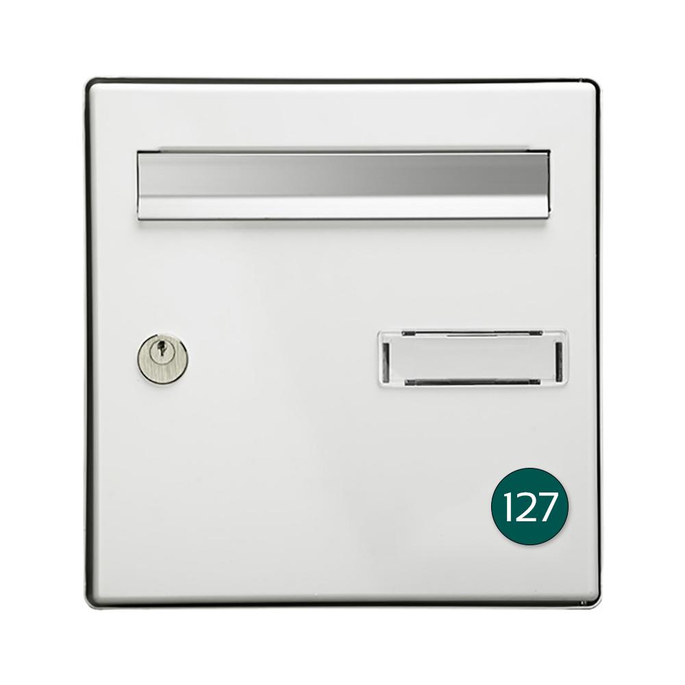 Numéro pour boite aux lettres personnalisable format rond diamètre 40 mm couleur vert foncé chiffres blancs