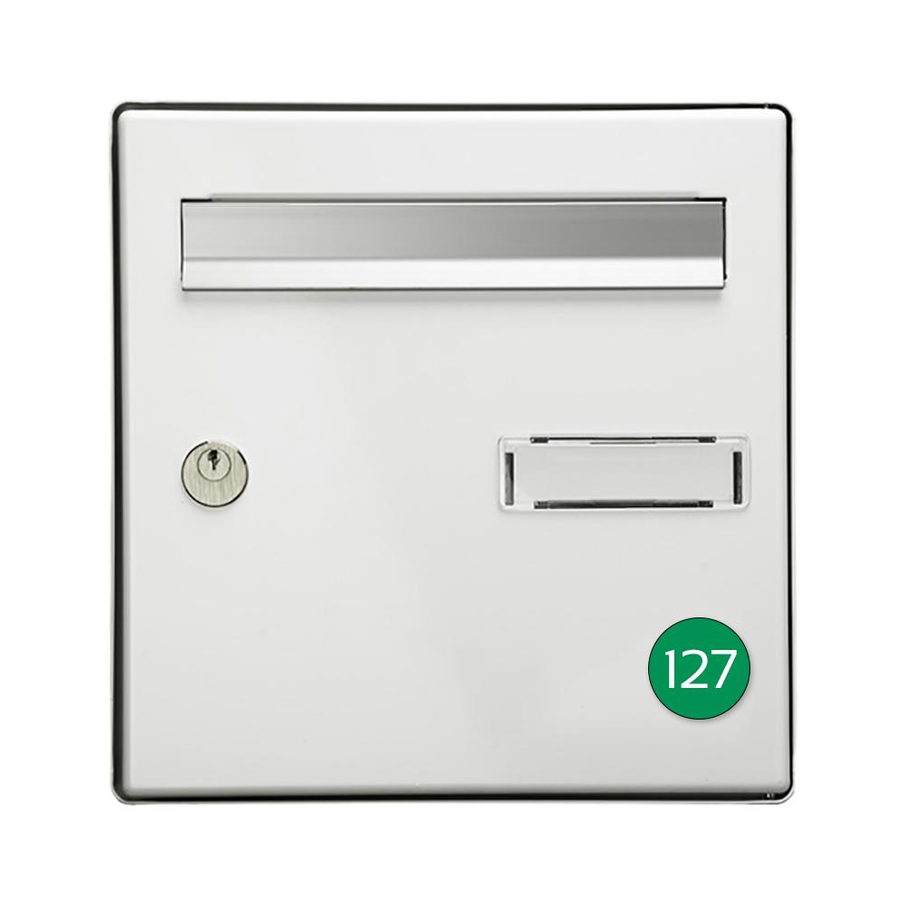 Numéro pour boite aux lettres personnalisable format rond diamètre 40 mm couleur vert pomme chiffres blancs