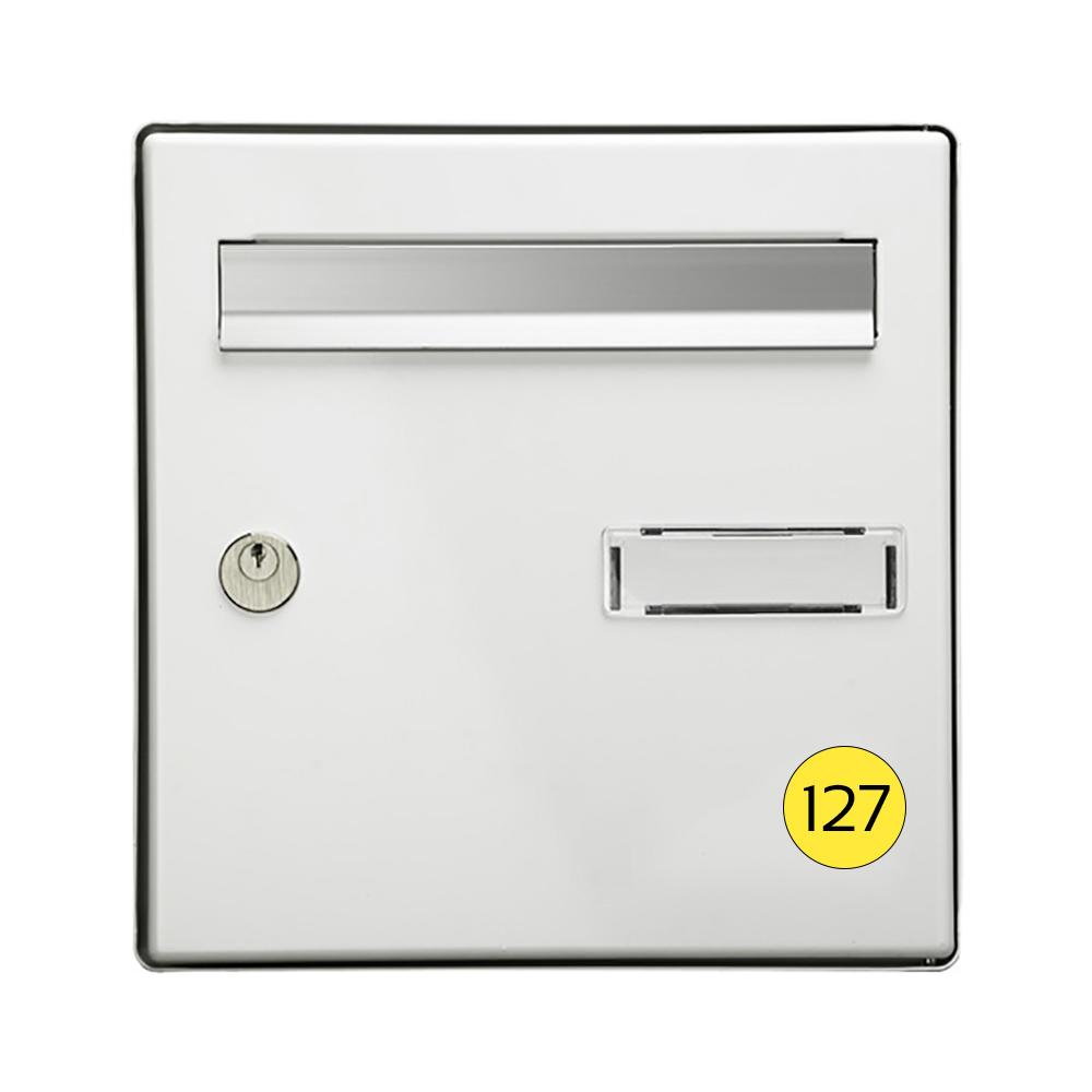 Numéro pour boite aux lettres personnalisable format rond diamètre 40 mm couleur jaune chiffres noirs