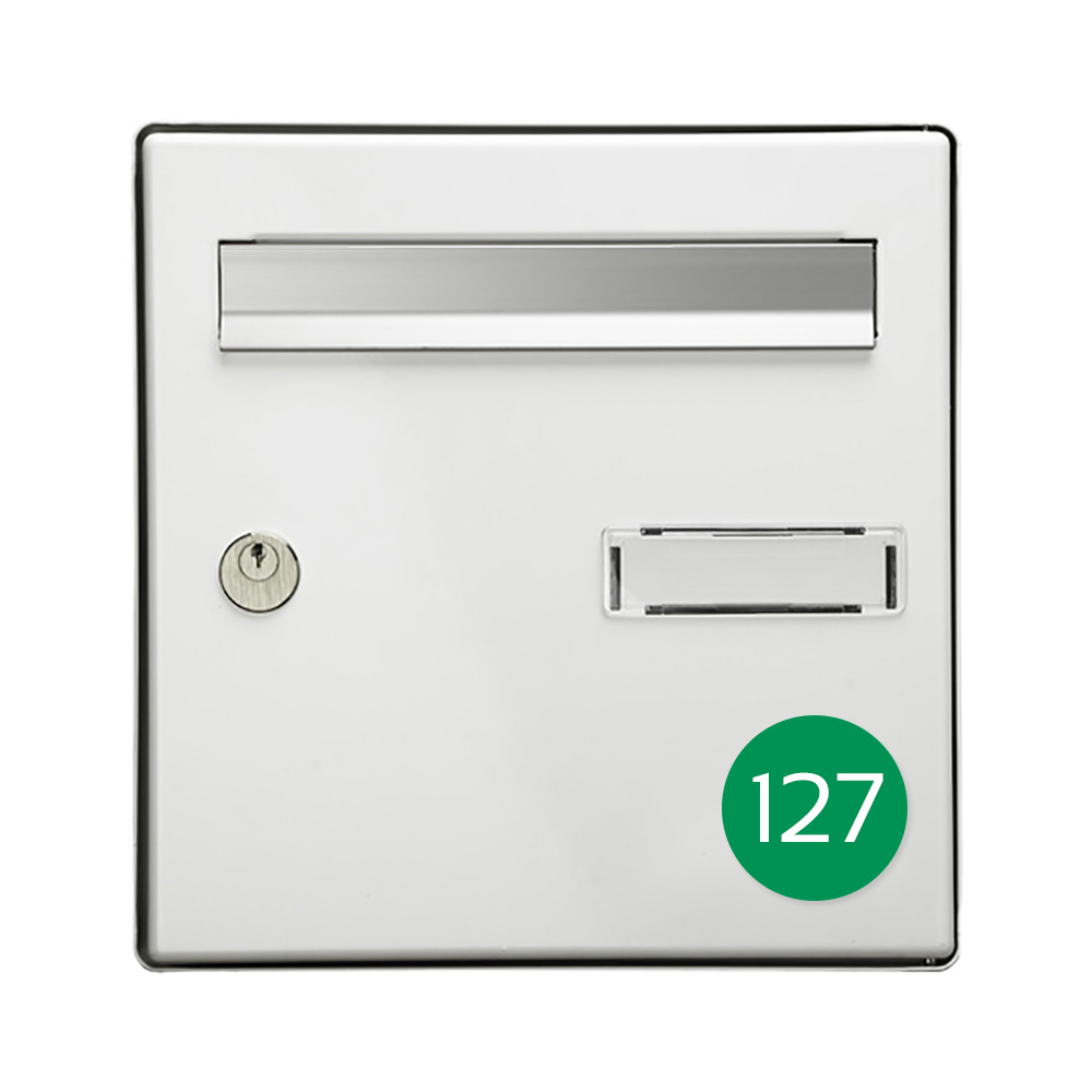 Numéro pour boite aux lettres personnalisable format rond diamètre 60 mm couleur vert pomme chiffres blancs