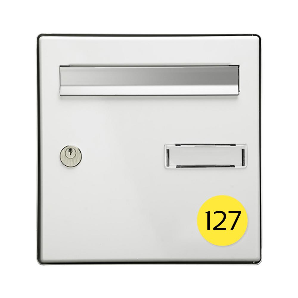 Numéro pour boite aux lettres personnalisable format rond diamètre 60 mm couleur jaune chiffres noirs