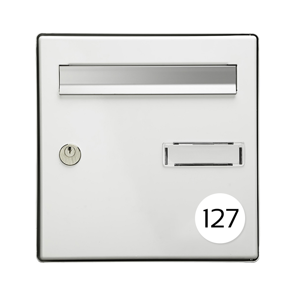 Numéro pour boite aux lettres personnalisable format rond diamètre 60 mm couleur blancs chiffres noirs