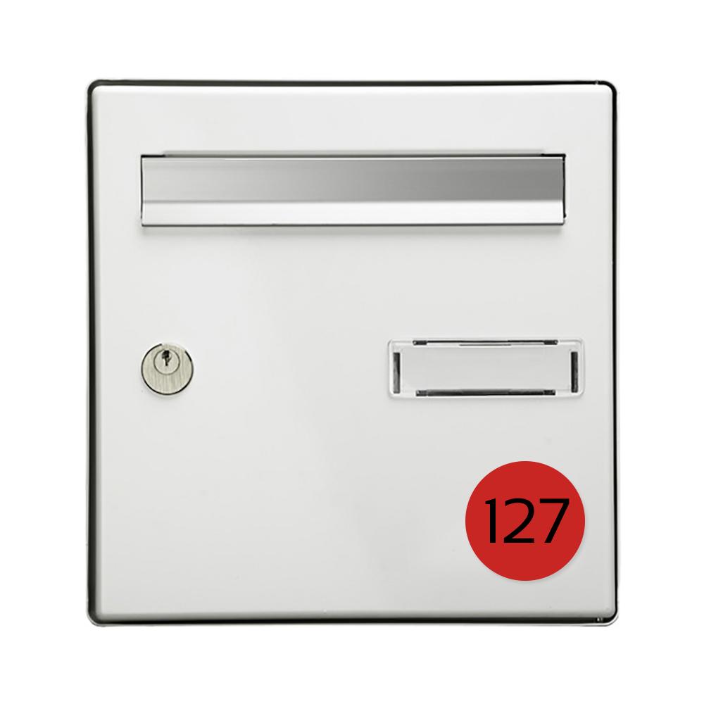 Numéro pour boite aux lettres personnalisable format rond diamètre 60 mm couleur rouge chiffres noirs