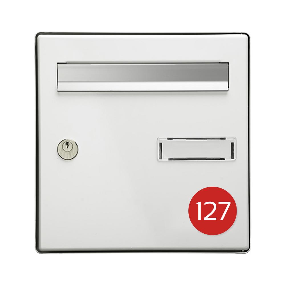 Numéro pour boite aux lettres personnalisable format rond diamètre 60 mm couleur rouge chiffres blancs