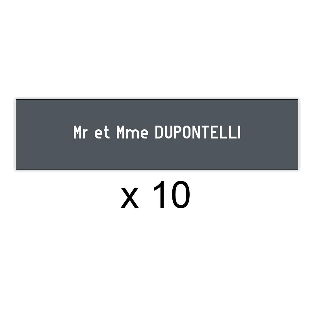 Lot de 10 plaques grises lettres blanches pour boite aux lettres Decayeux (100x25mm) pour copropriété, syndic immeuble
