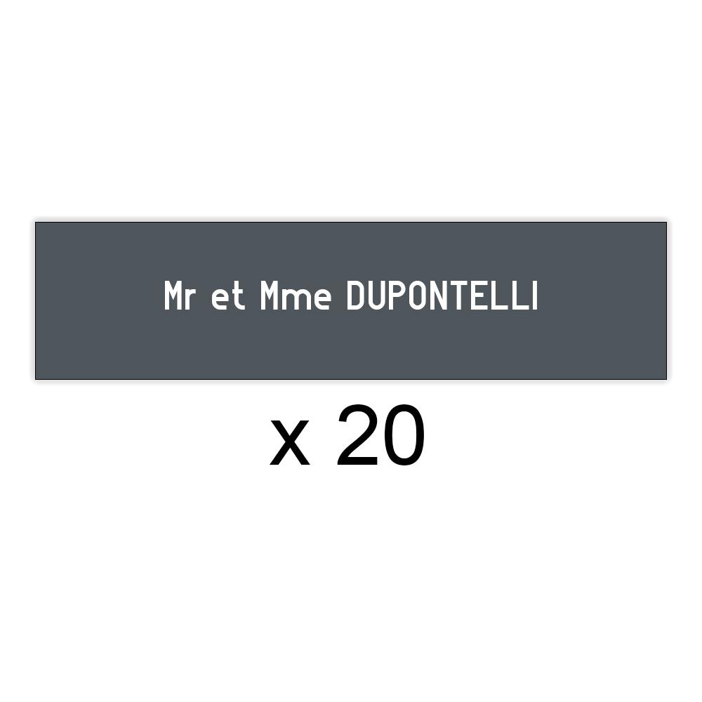 Lot de 20 plaques grises lettres blanches pour boite aux lettres Decayeux (100x25mm) pour copropriété, syndic immeuble