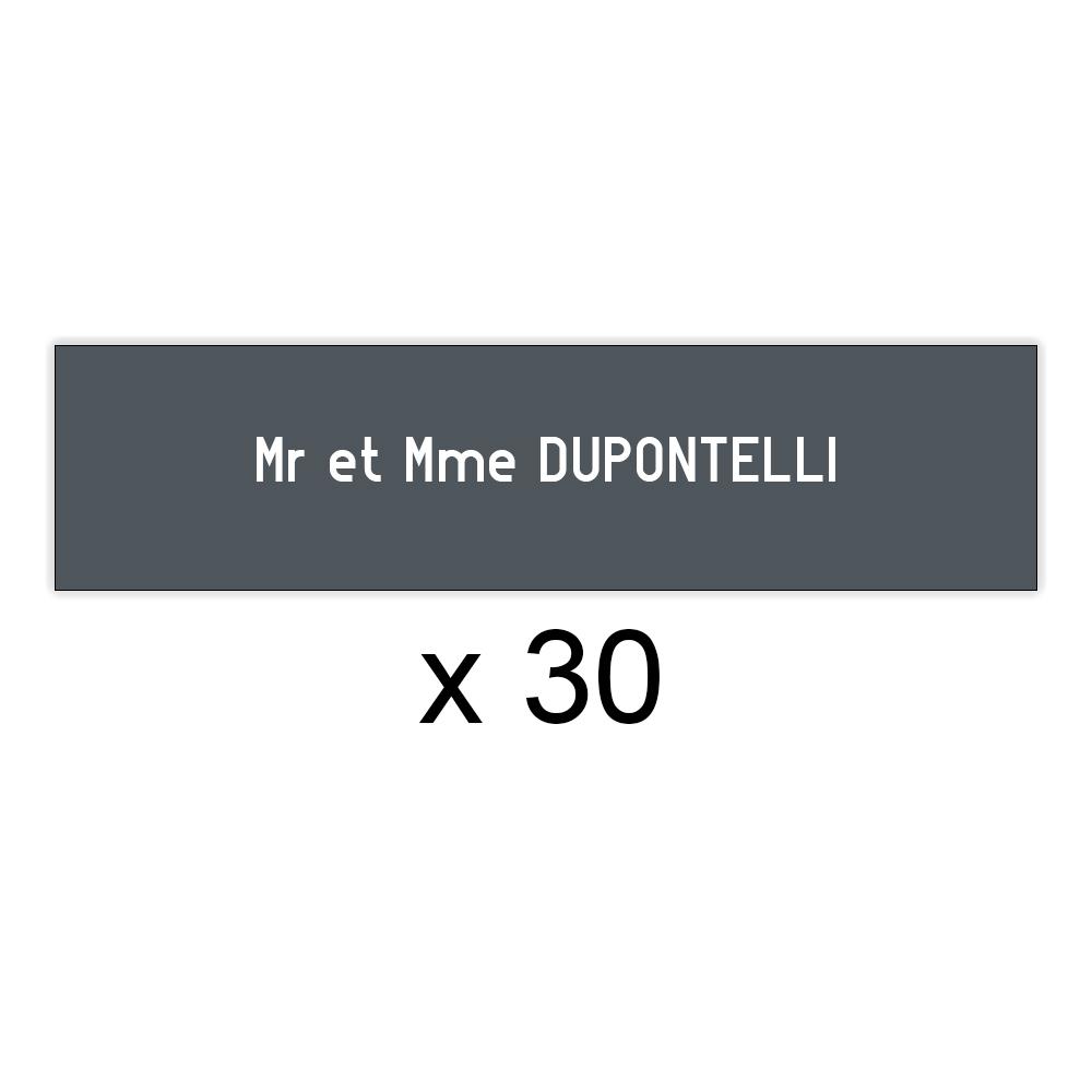 Lot de 30 plaques grises lettres blanches pour boite aux lettres Decayeux (100x25mm) pour copropriété, syndic immeuble