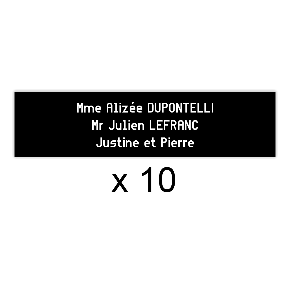 Lot de 10 plaques noires lettres blanches pour boite aux lettres Decayeux (100x25mm) pour copropriété, syndic immeuble