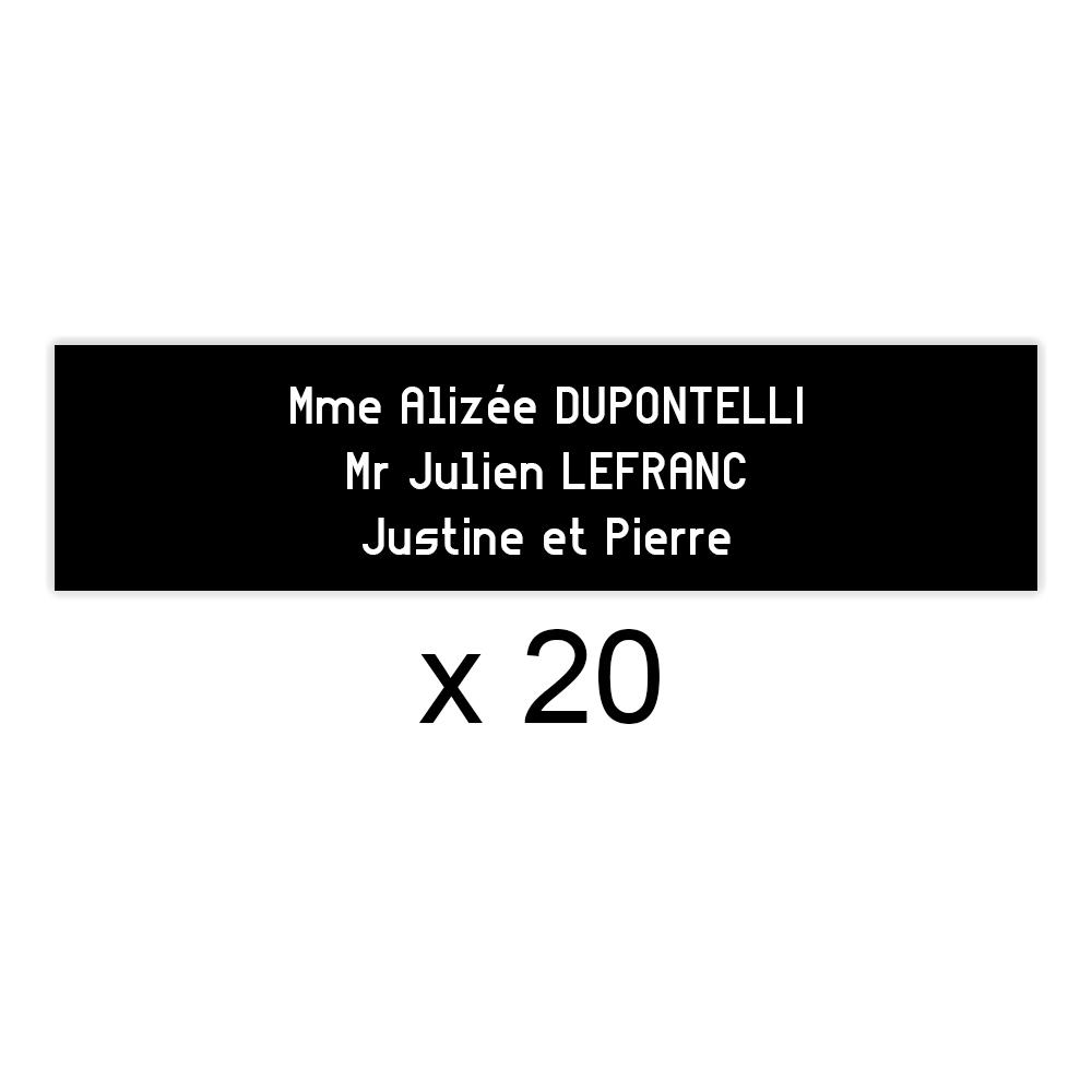 Lot de 20 plaques noires lettres blanches pour boite aux lettres Decayeux (100x25mm) pour copropriété, syndic immeuble