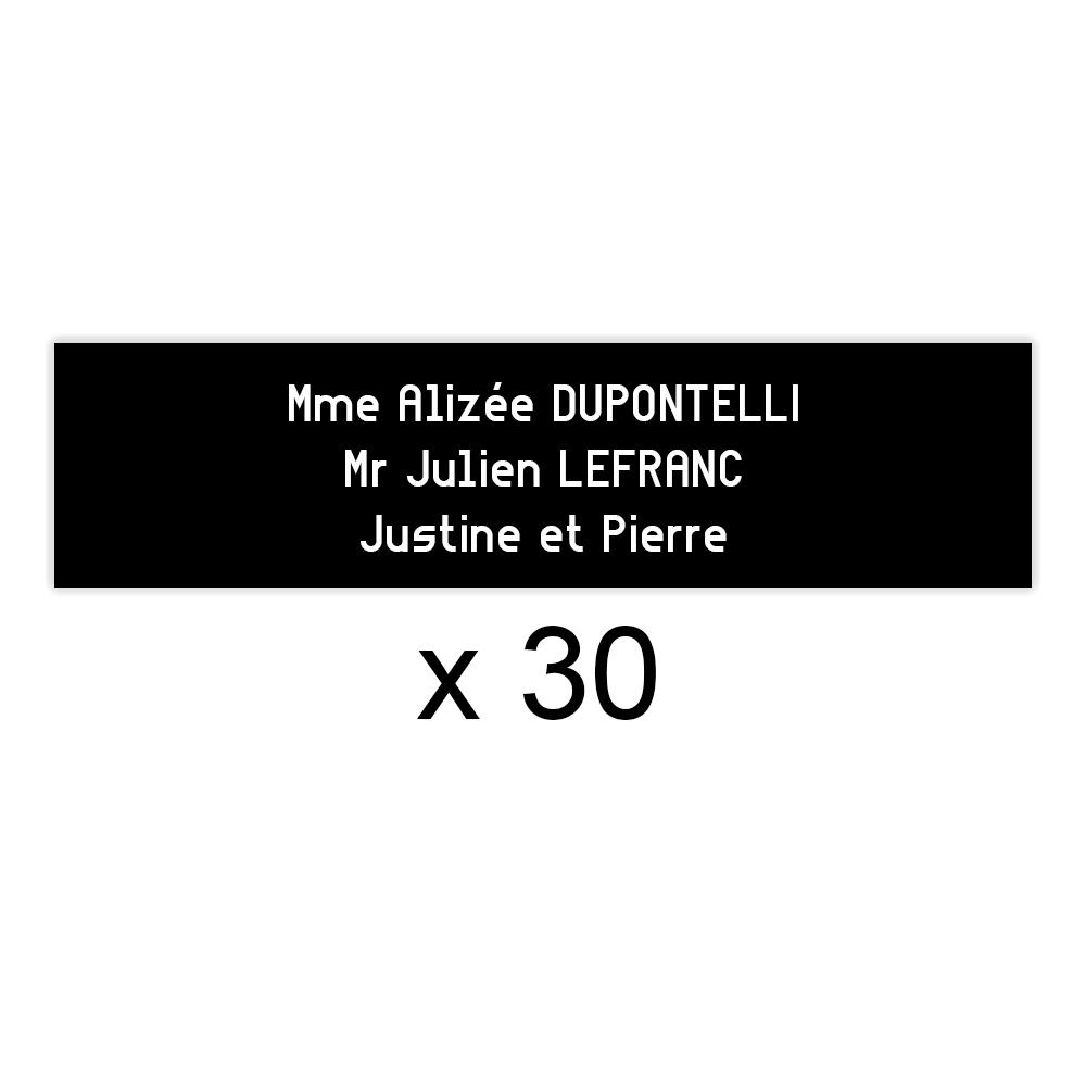Lot de 30 plaques noires lettres blanches pour boite aux lettres Decayeux (100x25mm) pour copropriété, syndic immeuble