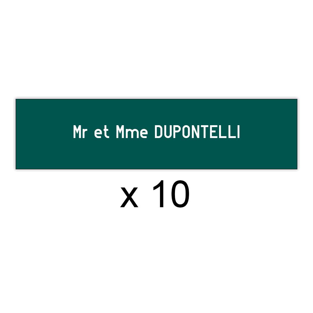 Lot de 10 plaques vert foncée lettres blanches pour boite aux lettres Decayeux (100x25mm) pour copropriété, syndic immeuble