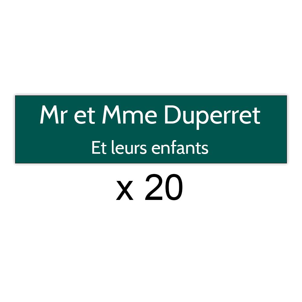 Lot de 20 plaques vert foncée lettres blanches pour boite aux lettres Decayeux (100x25mm) pour copropriété, syndic immeuble