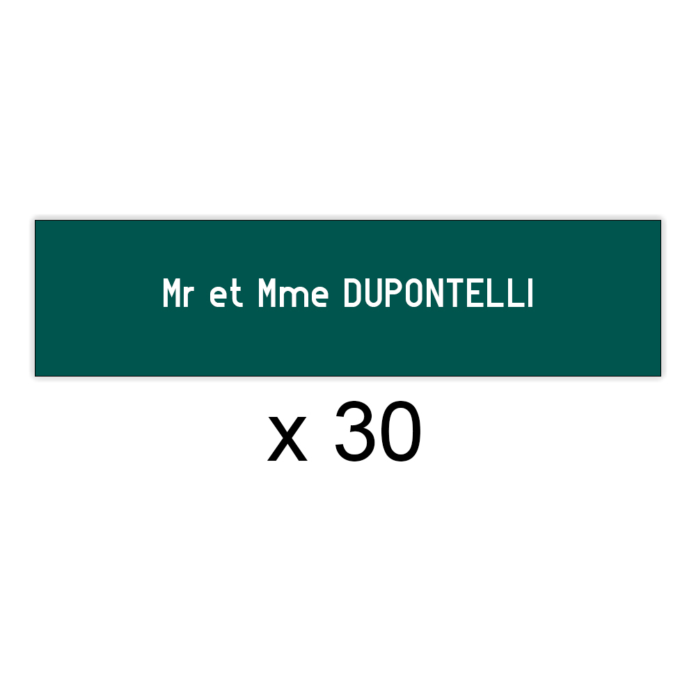 Lot de 30 plaques vert foncée lettres blanches pour boite aux lettres Decayeux (100x25mm) pour copropriété, syndic immeuble