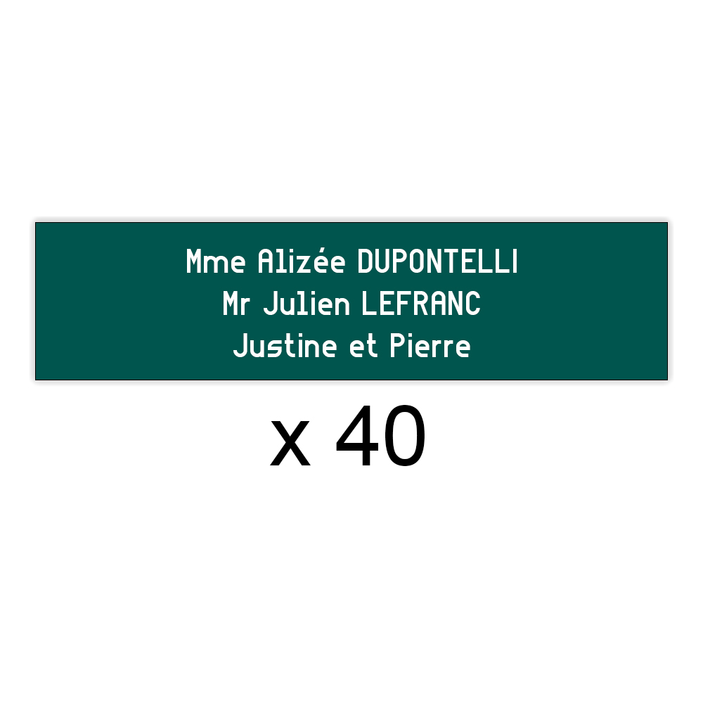 Lot de 40 plaques vert foncée lettres blanches pour boite aux lettres Decayeux (100x25mm) pour copropriété, syndic immeuble