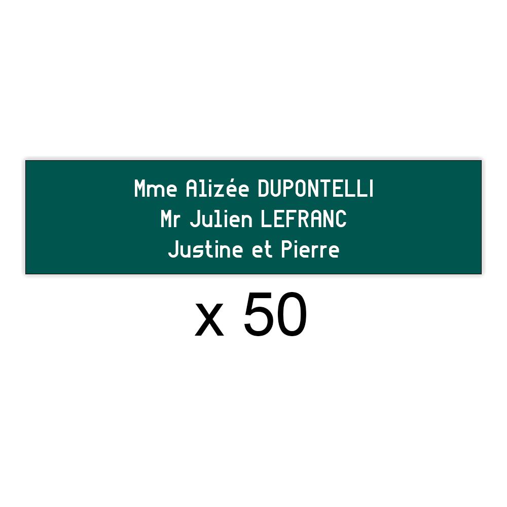 Lot de 50 plaques vert foncée lettres blanches pour boite aux lettres Decayeux (100x25mm) pour copropriété, syndic immeuble