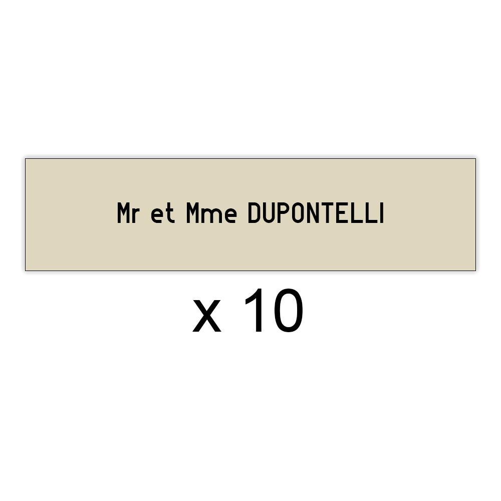 Lot de 10 plaques beige lettres noires pour boite aux lettres Decayeux (100x25mm) pour copropriété, syndic immeuble
