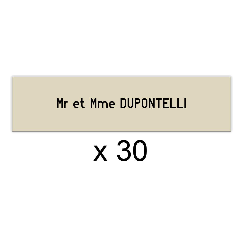 Lot de 30 plaques beige lettres noires pour boite aux lettres Decayeux (100x25mm) pour copropriété, syndic immeuble