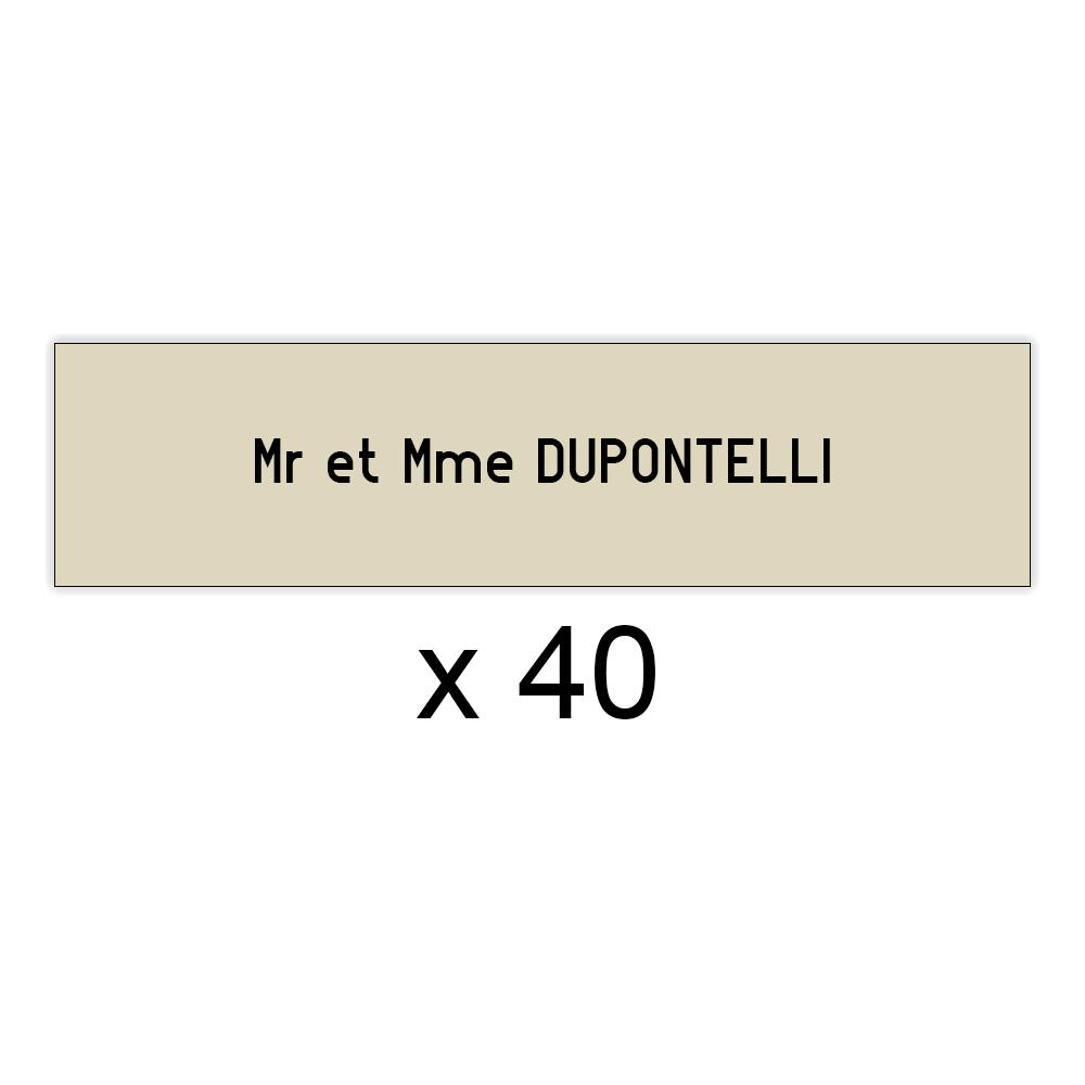 Lot de 40 plaques beige lettres noires pour boite aux lettres Decayeux (100x25mm) pour copropriété, syndic immeuble