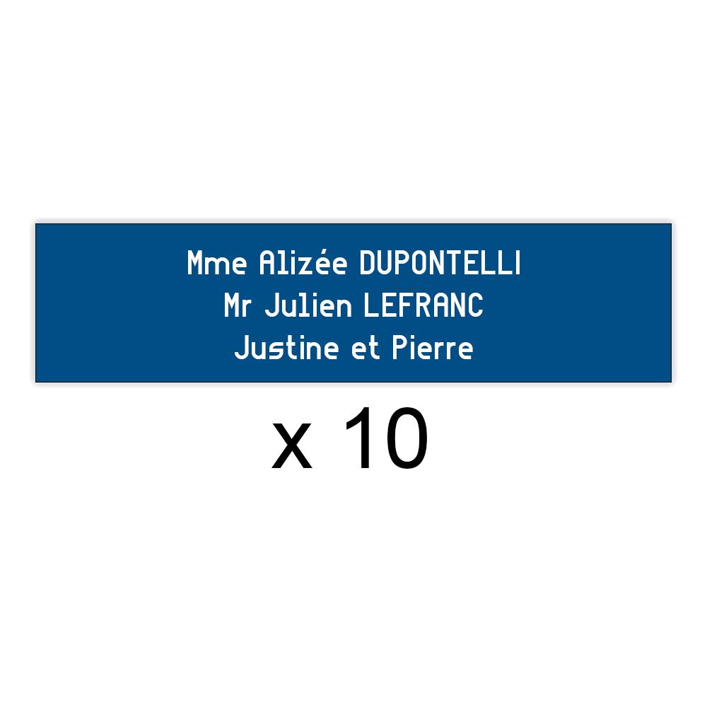 Lot de 10 plaques bleues lettres blanches pour boite aux lettres Decayeux (100x25mm) pour copropriété, syndic immeuble