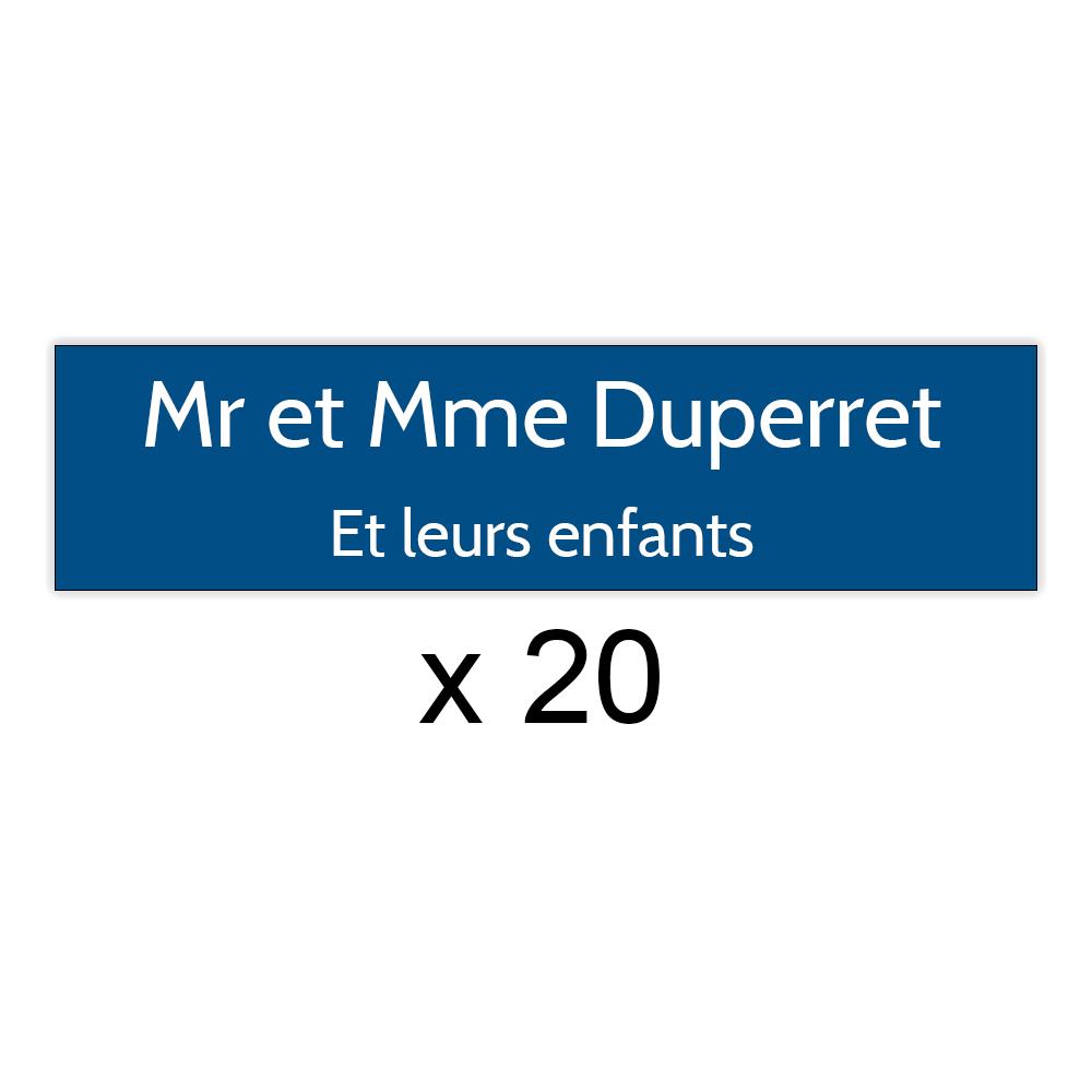 Lot de 20 plaques bleues lettres blanches pour boite aux lettres Decayeux (100x25mm) pour copropriété, syndic immeuble