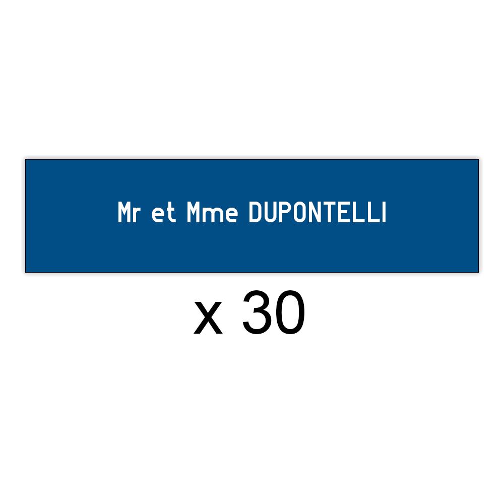 Lot de 30 plaques bleues lettres blanches pour boite aux lettres Decayeux (100x25mm) pour copropriété, syndic immeuble