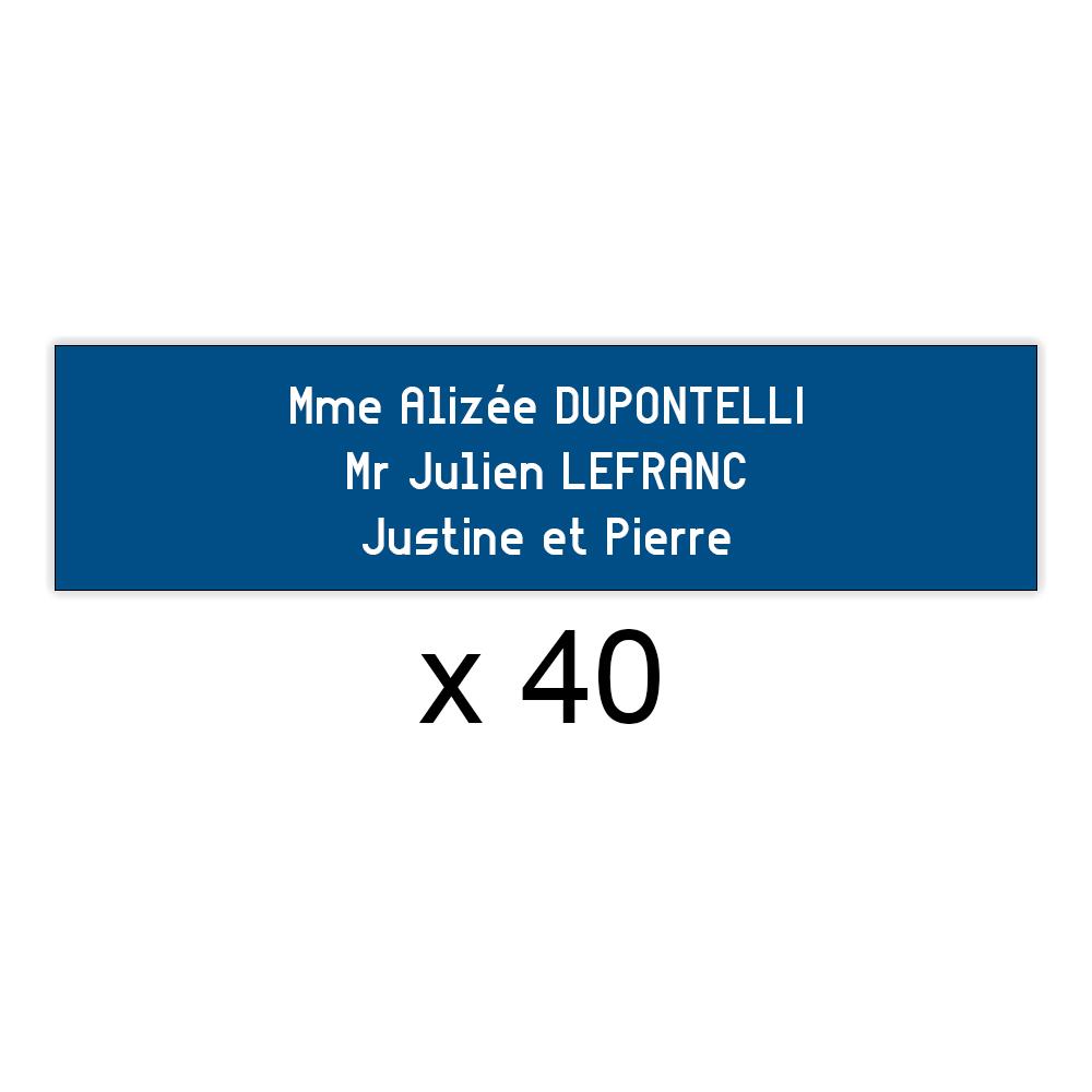Lot de 40 plaques bleues lettres blanches pour boite aux lettres Decayeux (100x25mm) pour copropriété, syndic immeuble
