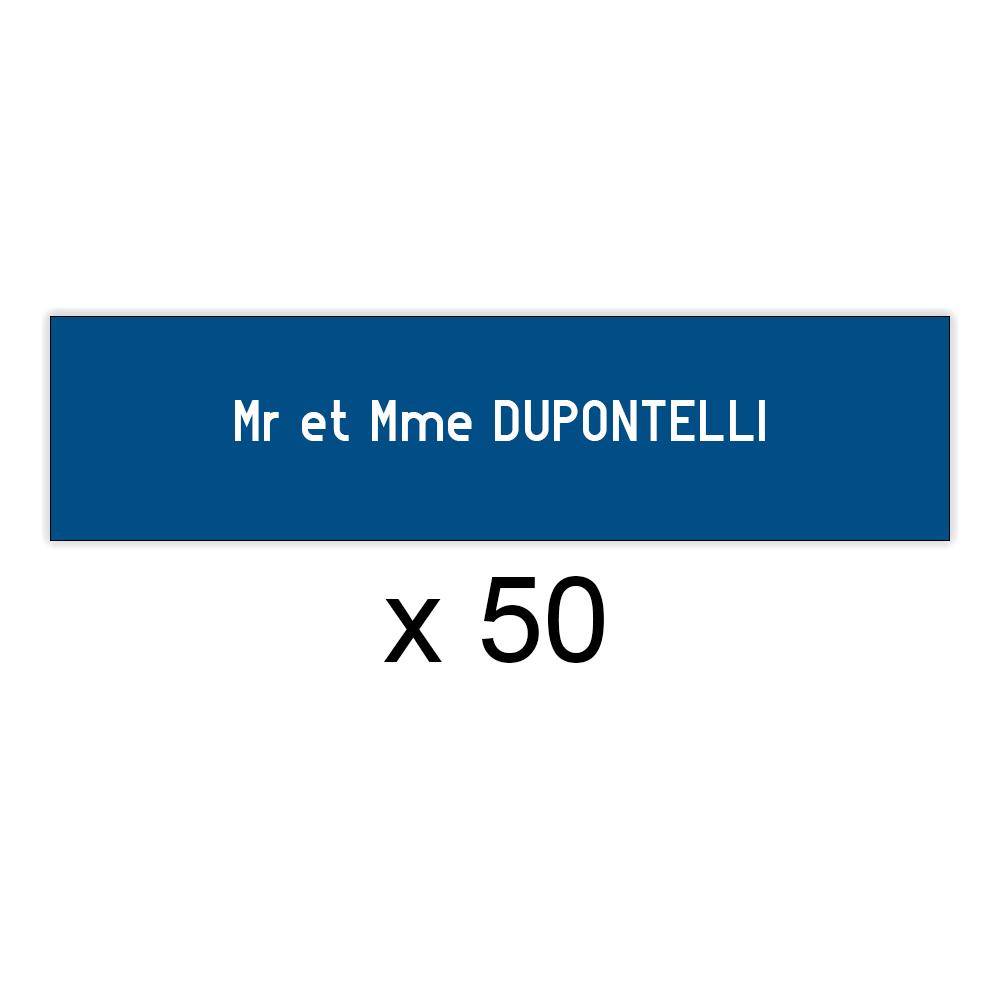 Lot de 50 plaques bleues lettres blanches pour boite aux lettres Decayeux (100x25mm) pour copropriété, syndic immeuble