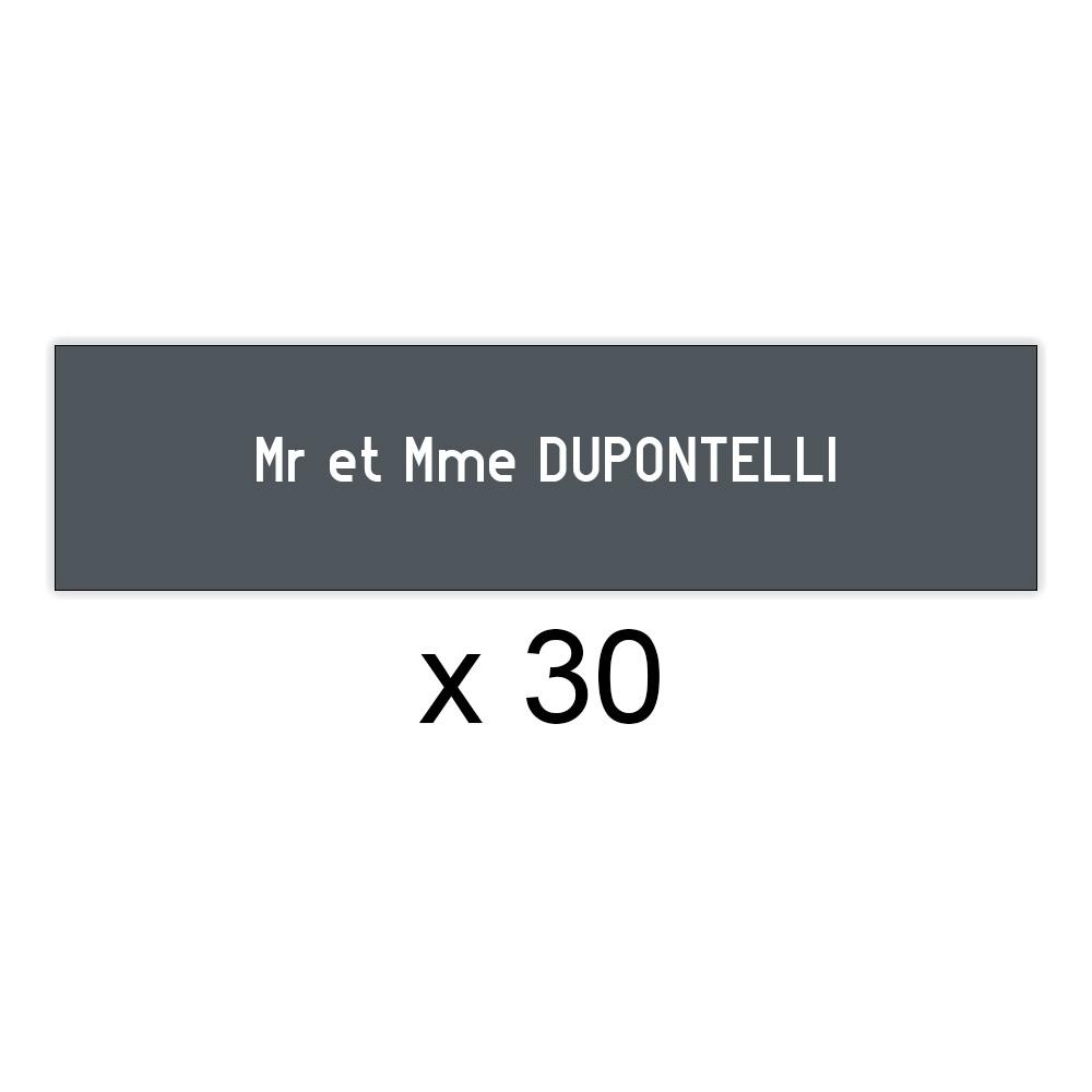 Lot de 30 plaques grises lettres blanches pour boite aux lettres Edelen (99x24mm) pour copropriété, syndic immeuble