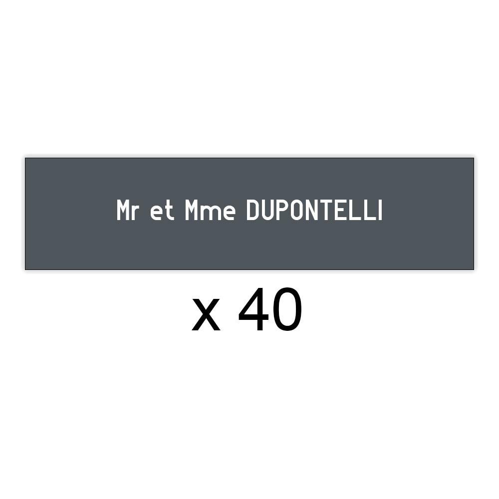 Lot de 40 plaques grises lettres blanches pour boite aux lettres Edelen (99x24mm) pour copropriété, syndic immeuble