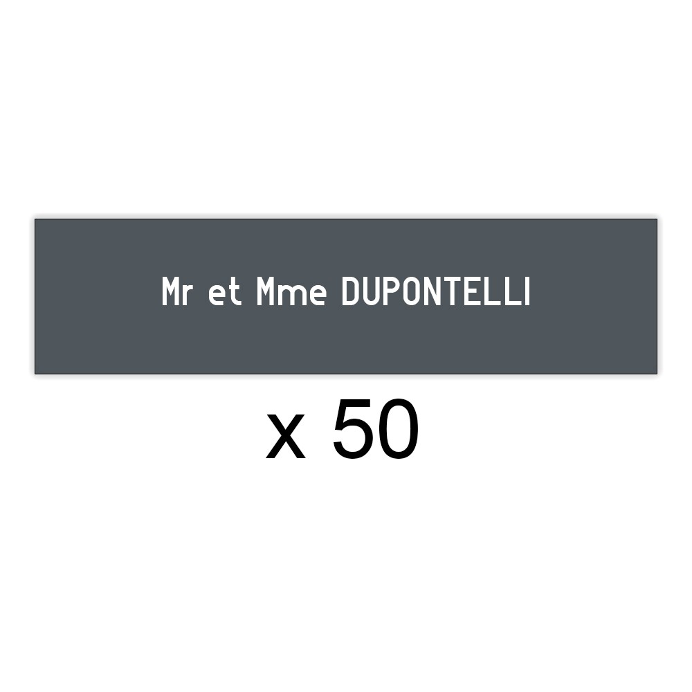 Lot de 50 plaques grises lettres blanches pour boite aux lettres Edelen (99x24mm) pour copropriété, syndic immeuble