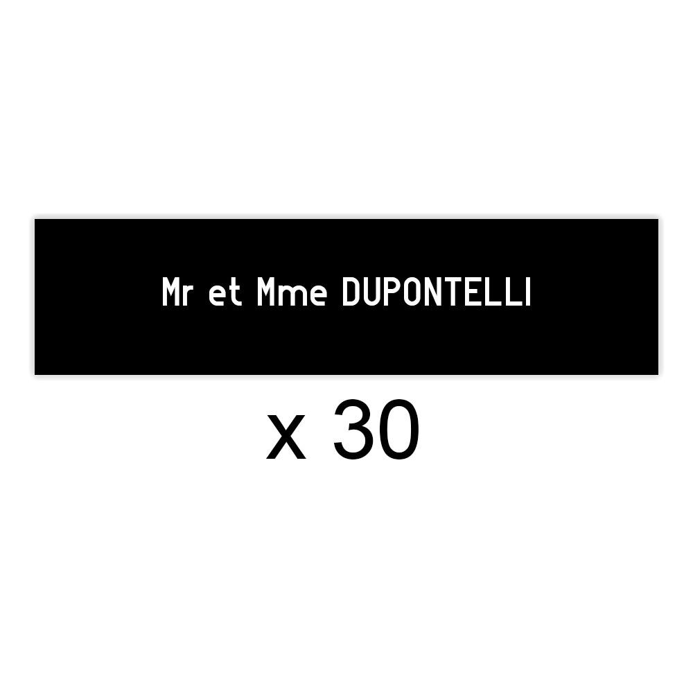 Lot de 30 plaques noires lettres blanches pour boite aux lettres Edelen (99x24mm) pour copropriété, syndic immeuble