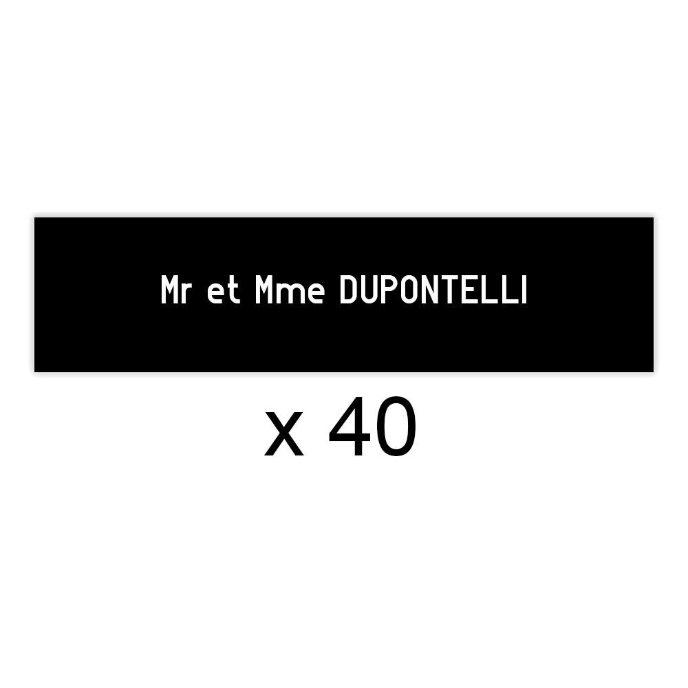 Lot de 40 plaques noires lettres blanches pour boite aux lettres Edelen (99x24mm) pour copropriété, syndic immeuble