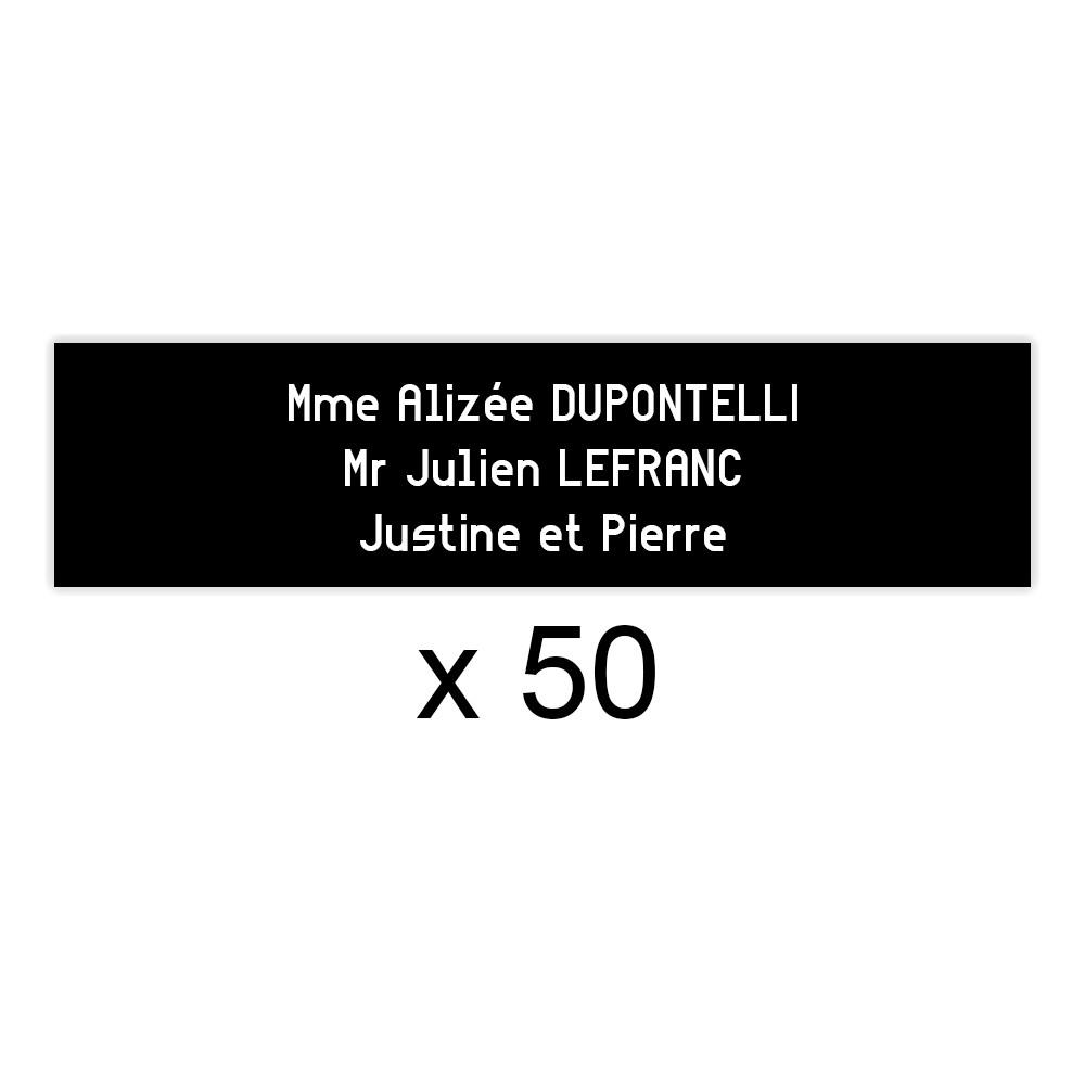 Lot de 50 plaques noires lettres blanches pour boite aux lettres Edelen (99x24mm) pour copropriété, syndic immeuble