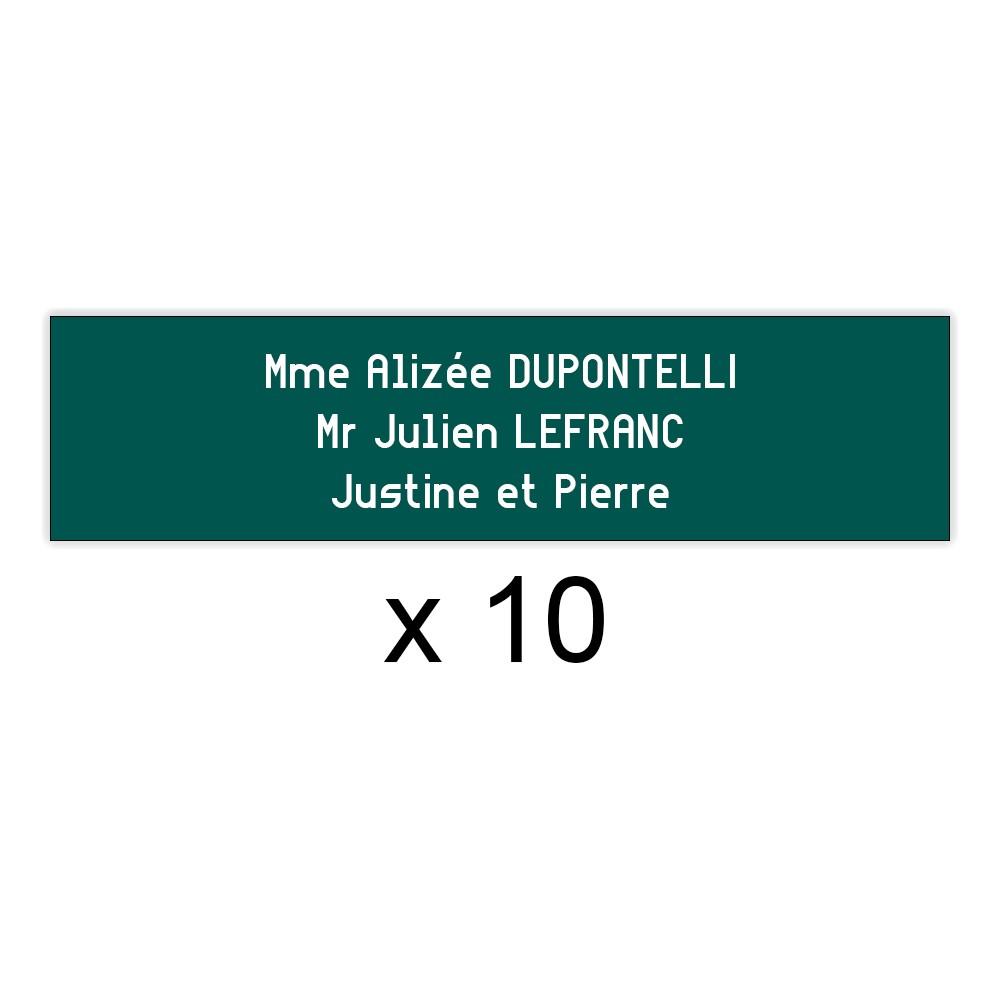 Lot de 10 plaques vert foncée lettres blanches pour boite aux lettres Edelen (99x24mm) pour copropriété, syndic immeuble
