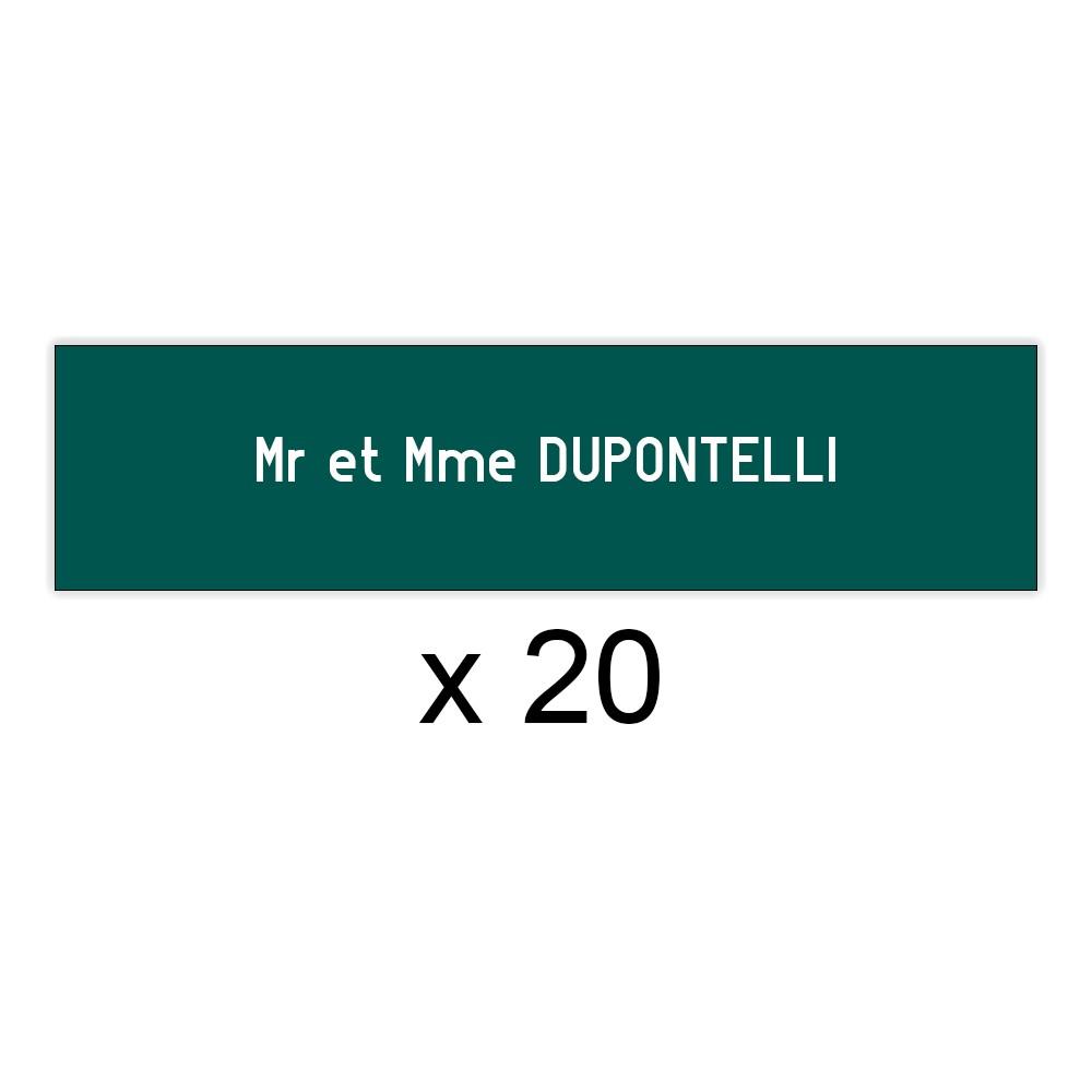 Lot de 20 plaques vert foncée lettres blanches pour boite aux lettres Edelen (99x24mm) pour copropriété, syndic immeuble