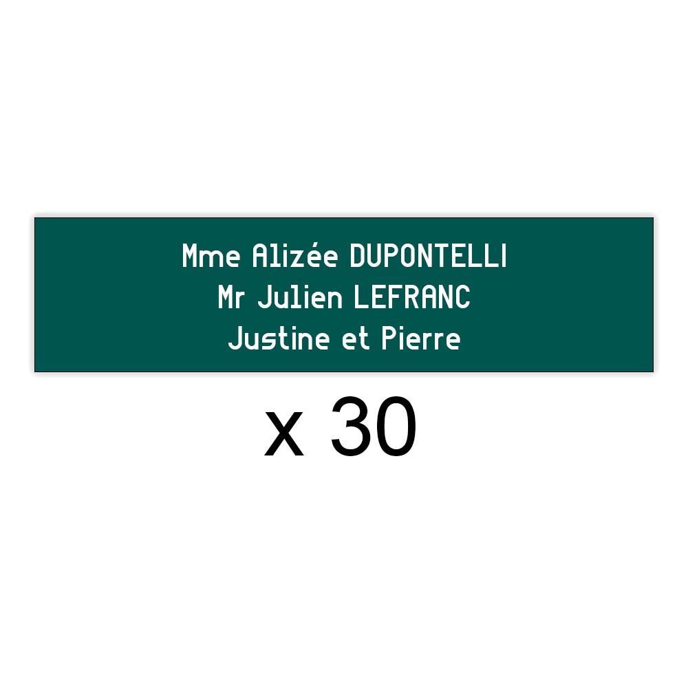 Lot de 30 plaques vert foncée lettres blanches pour boite aux lettres Edelen (99x24mm) pour copropriété, syndic immeuble