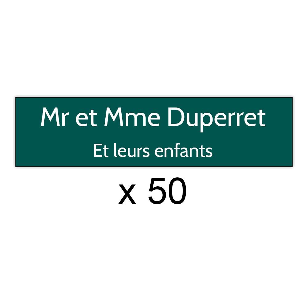 Lot de 50 plaques vert foncée lettres blanches pour boite aux lettres Edelen (99x24mm) pour copropriété, syndic immeuble