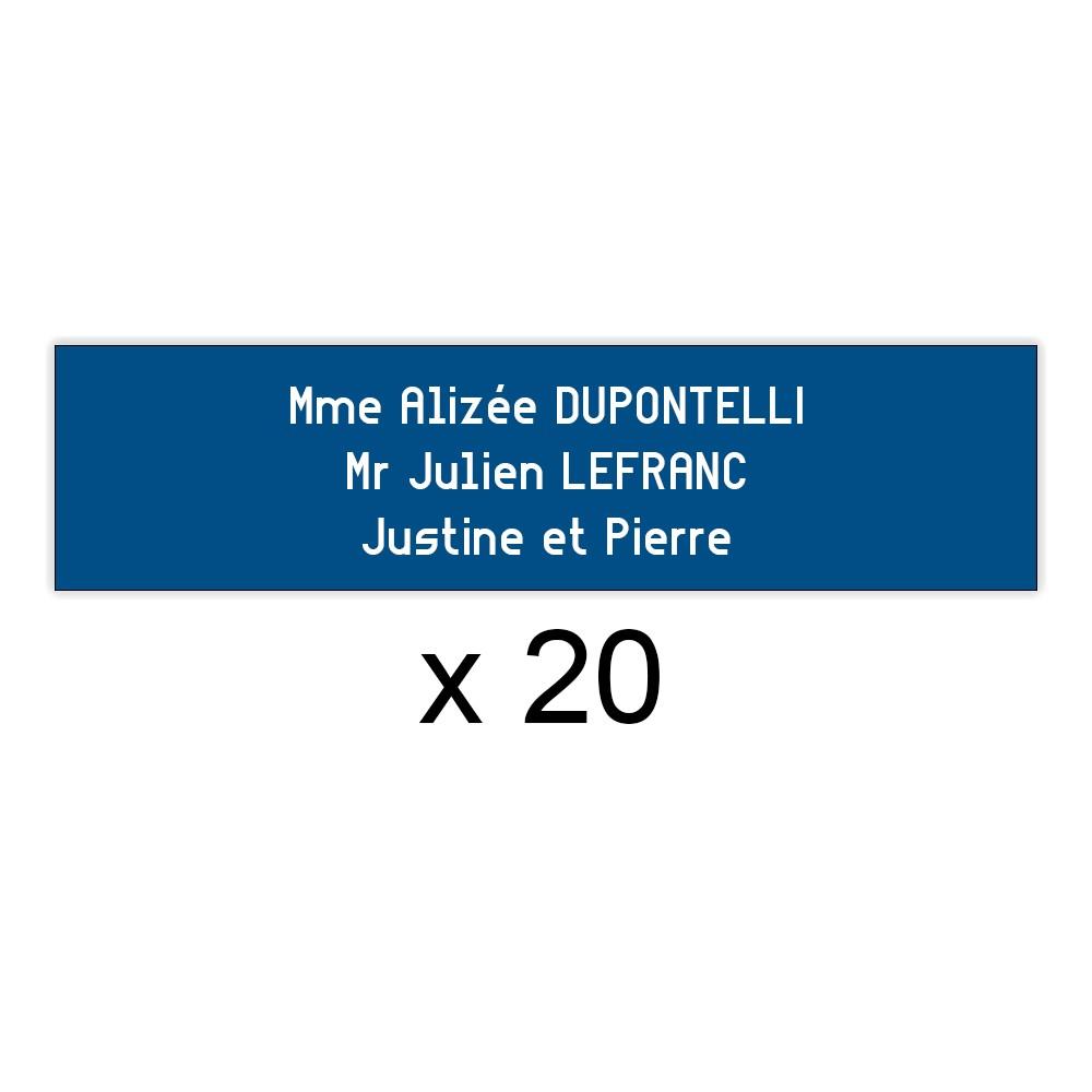 Lot de 20 plaques bleues lettres blanches pour boite aux lettres Edelen (99x24mm) pour copropriété, syndic immeuble