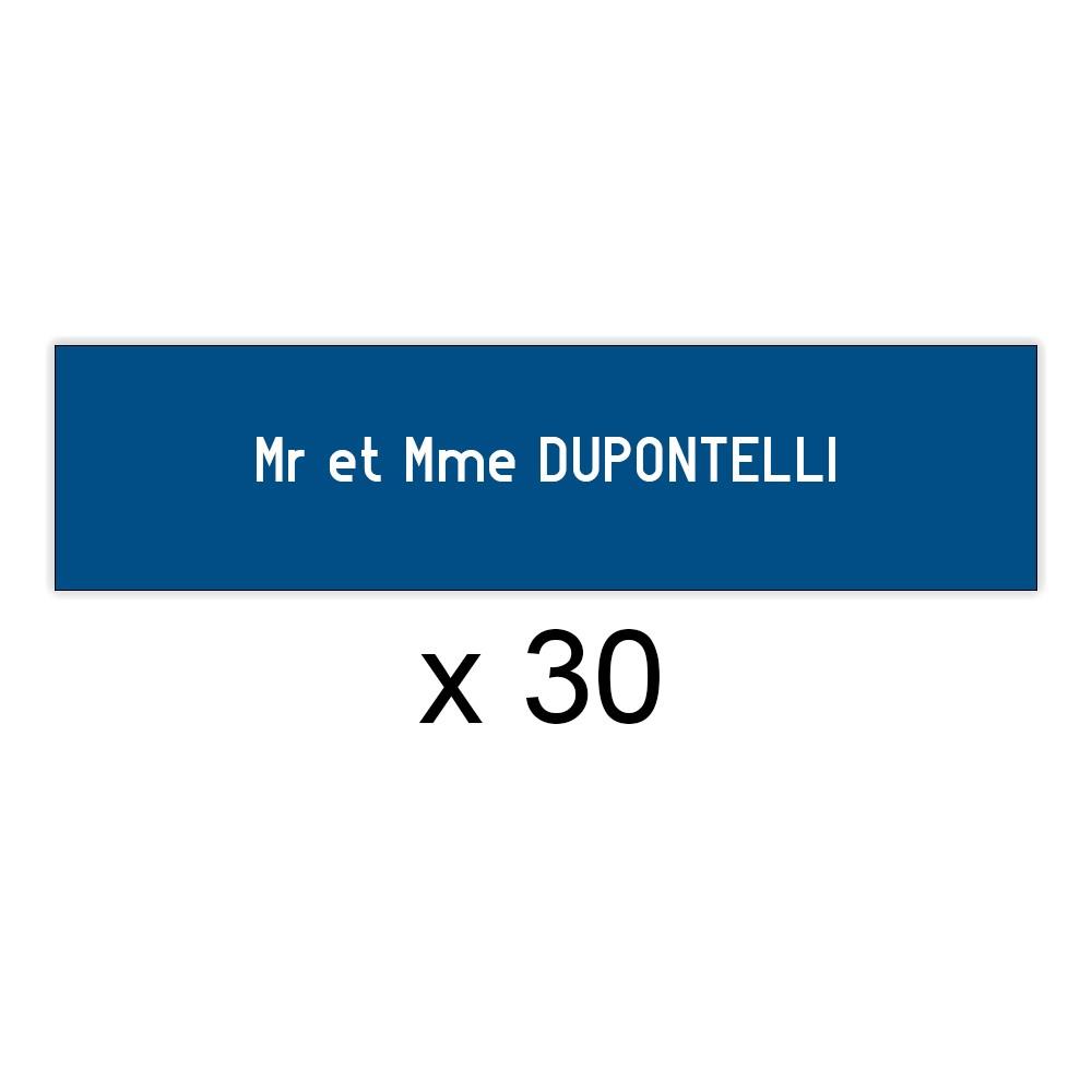 Lot de 30 plaques bleues lettres blanches pour boite aux lettres Edelen (99x24mm) pour copropriété, syndic immeuble