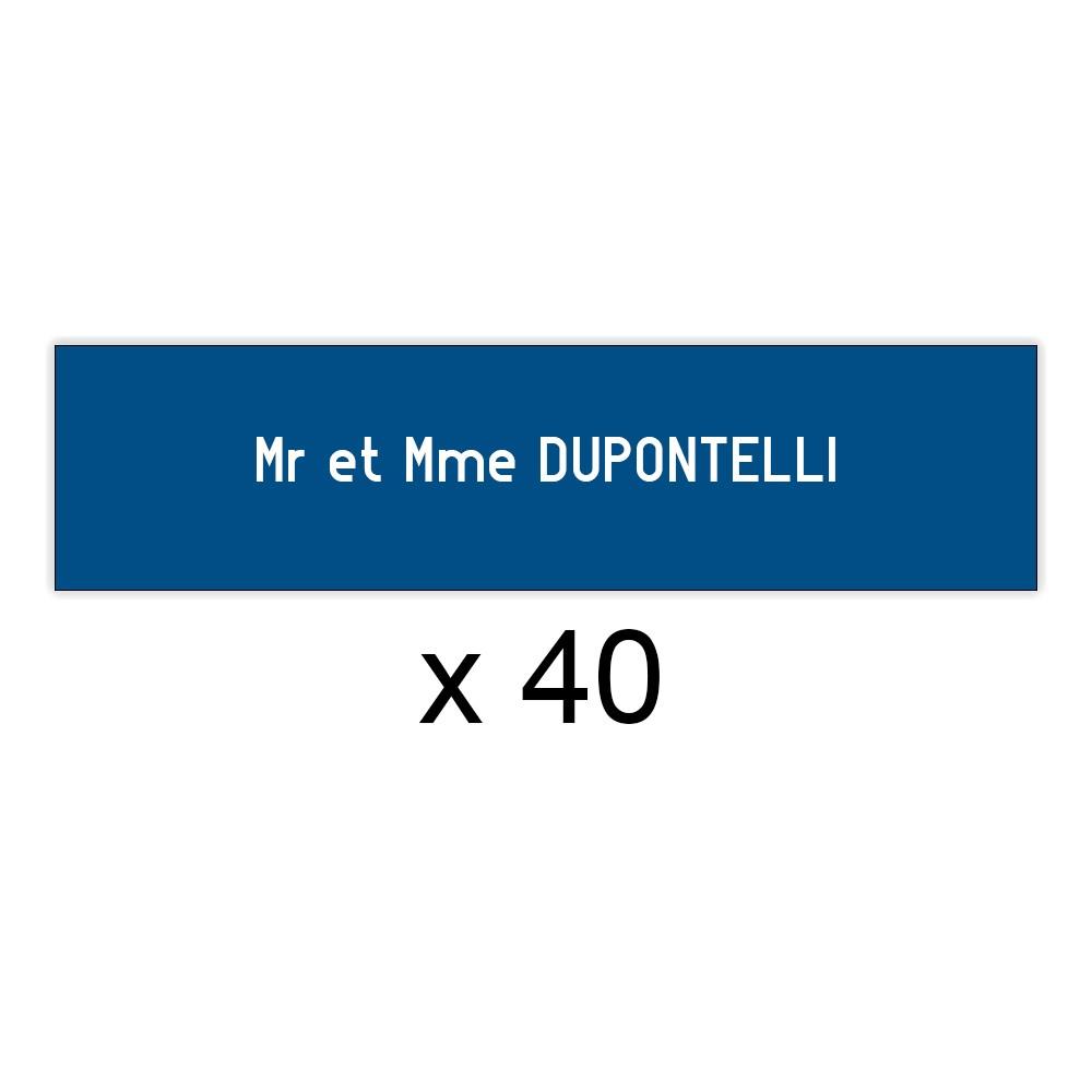 Lot de 40 plaques bleues lettres blanches pour boite aux lettres Edelen (99x24mm) pour copropriété, syndic immeuble