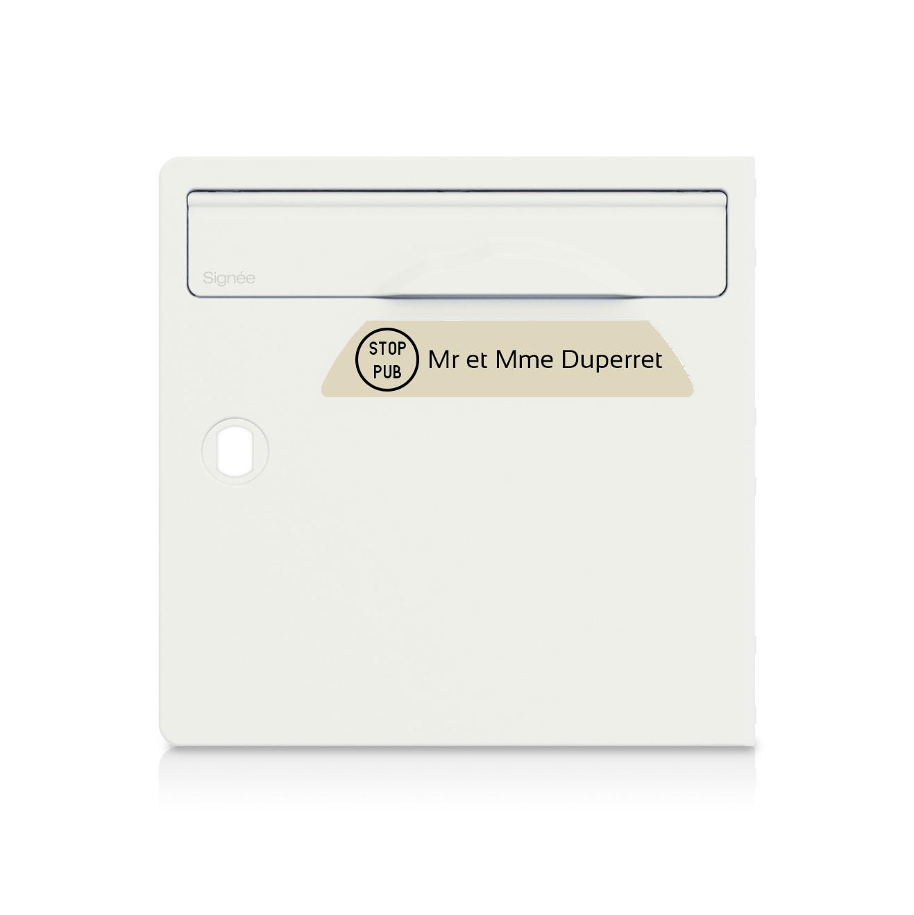 Plaque boite aux lettres Signée STOP PUB beige lettres noires - 1 ligne