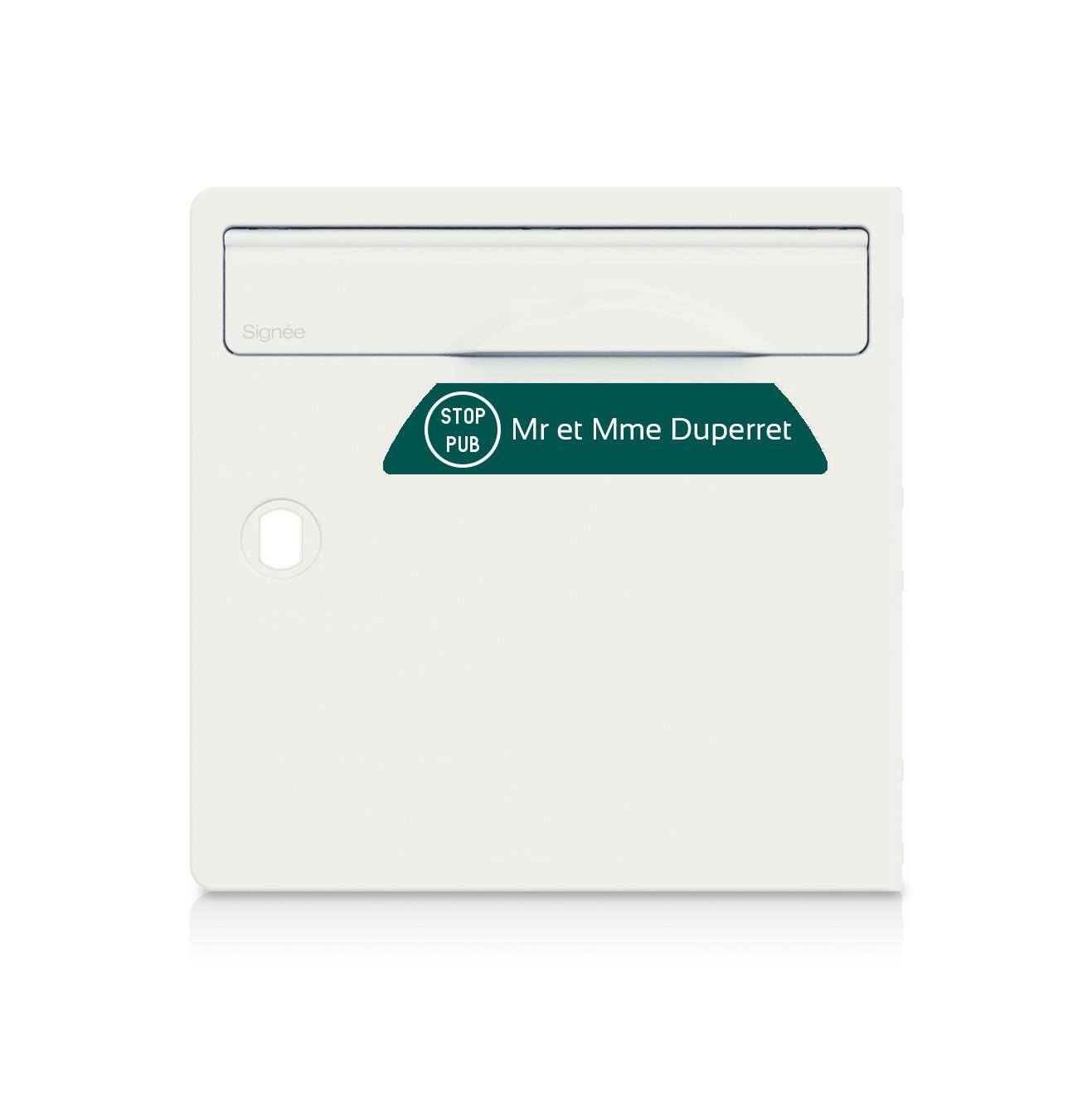 Plaque boite aux lettres Signée STOP PUB vert foncé lettres blanches - 1 ligne