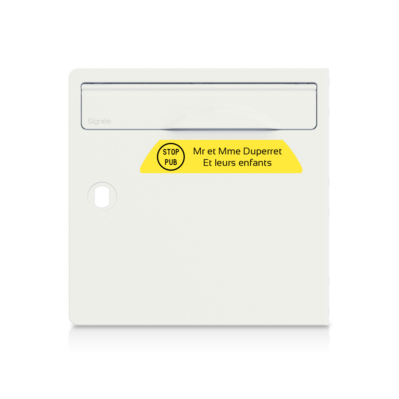 plaque boite aux lettres Signée STOP PUB jaune lettres noires - 2 lignes