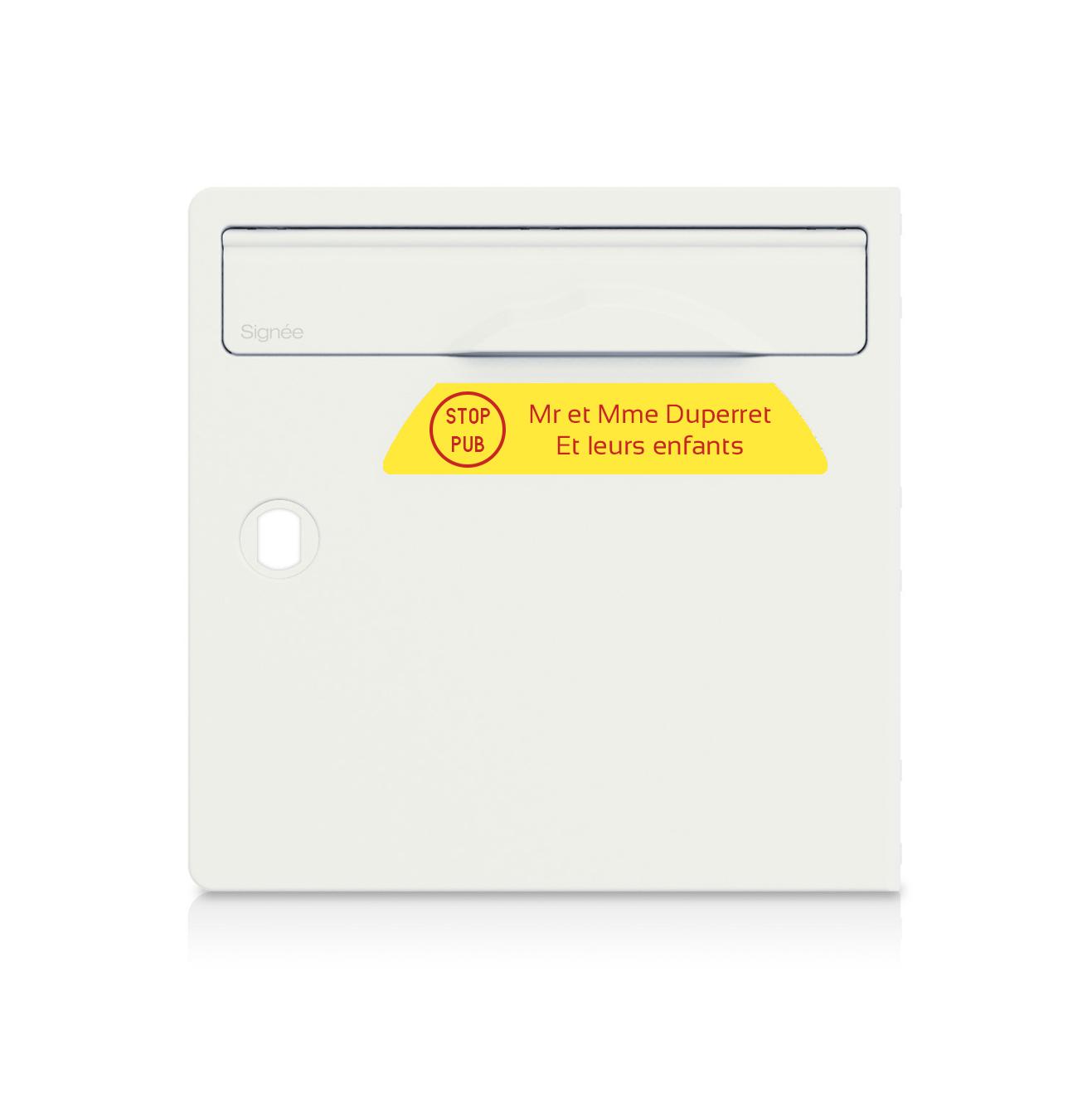 plaque boite aux lettres Signée STOP PUB Jaune lettres rouges - 2 lignes