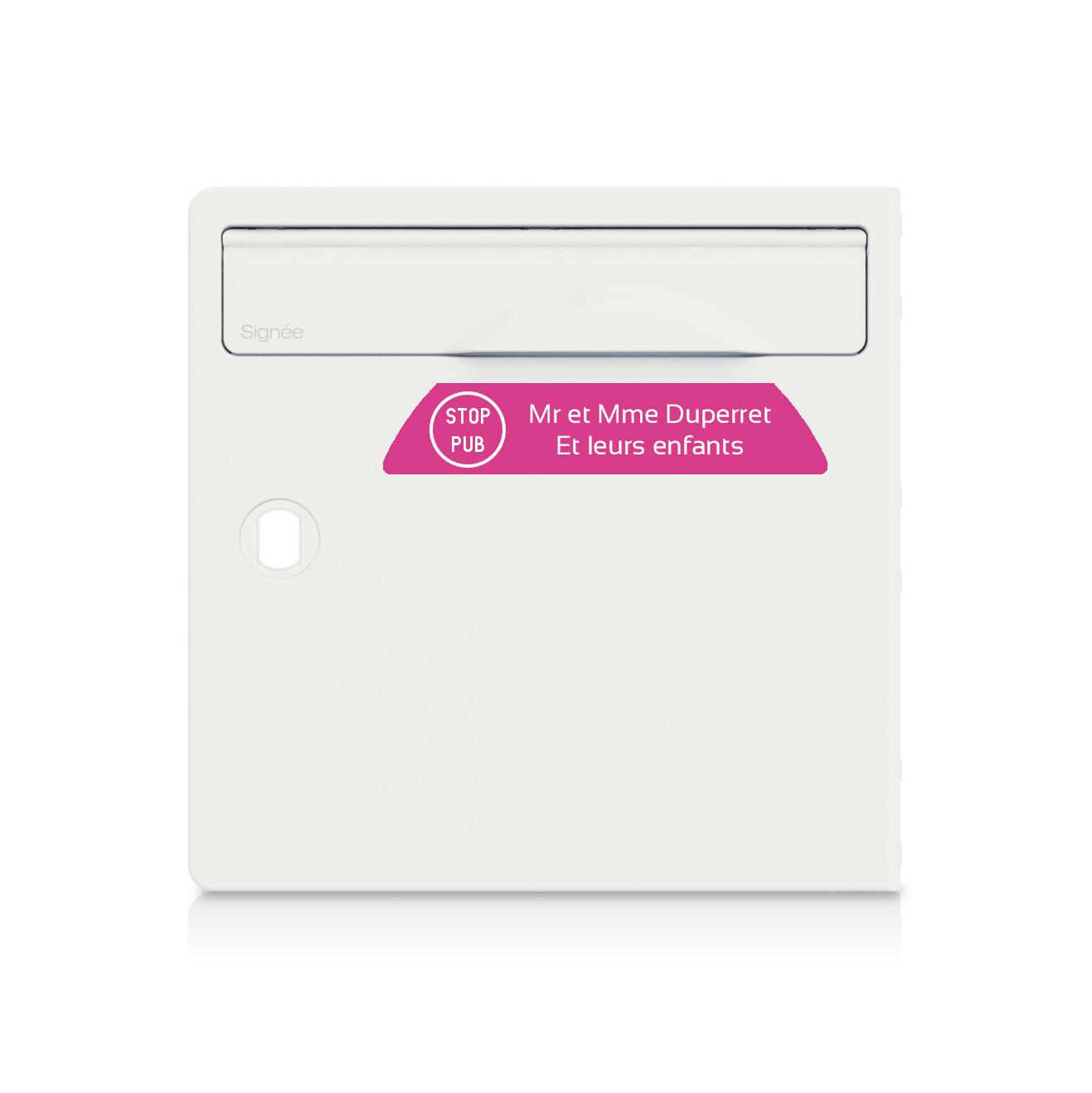 plaque boite aux lettres Signée STOP PUB rose lettres blanches - 2 lignes