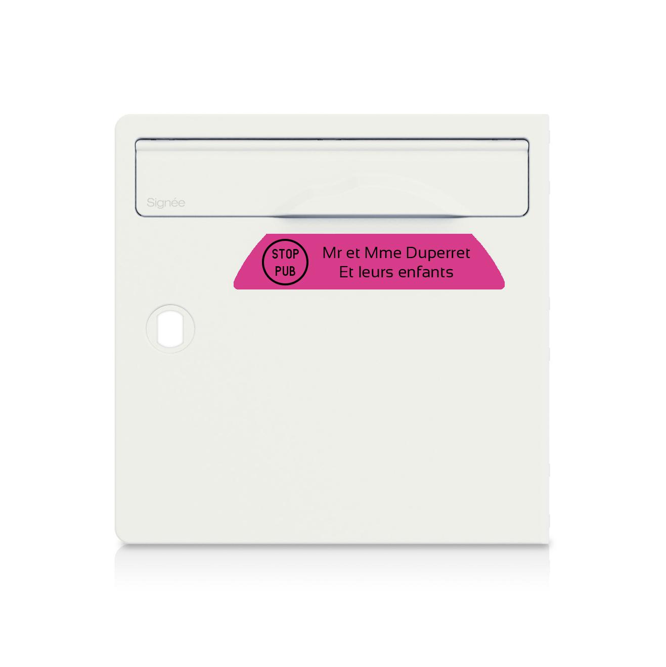 plaque boite aux lettres Signée STOP PUB rose lettres noires - 2 lignes