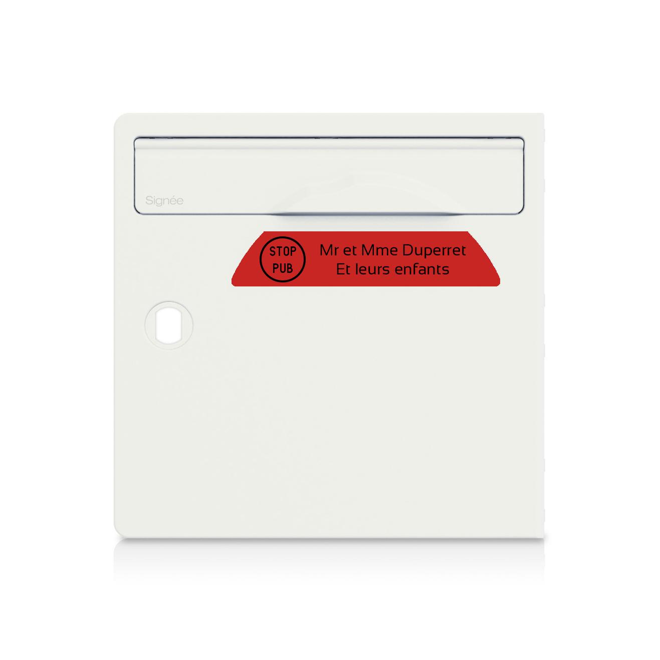 plaque boite aux lettres Signée STOP PUB rouge lettres noires - 2 lignes